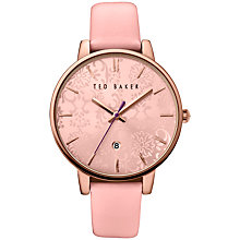 Buy Ted Baker TE10030693 Katie Damask Floral Leather Strap Watch, Pink Online at johnlewis.com
