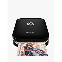 Buy HP Sprocket Portable Photo Printer, Black and HP Zink Sticky-Backed Photo Paper, 20 Sheets Online at johnlewis.com
