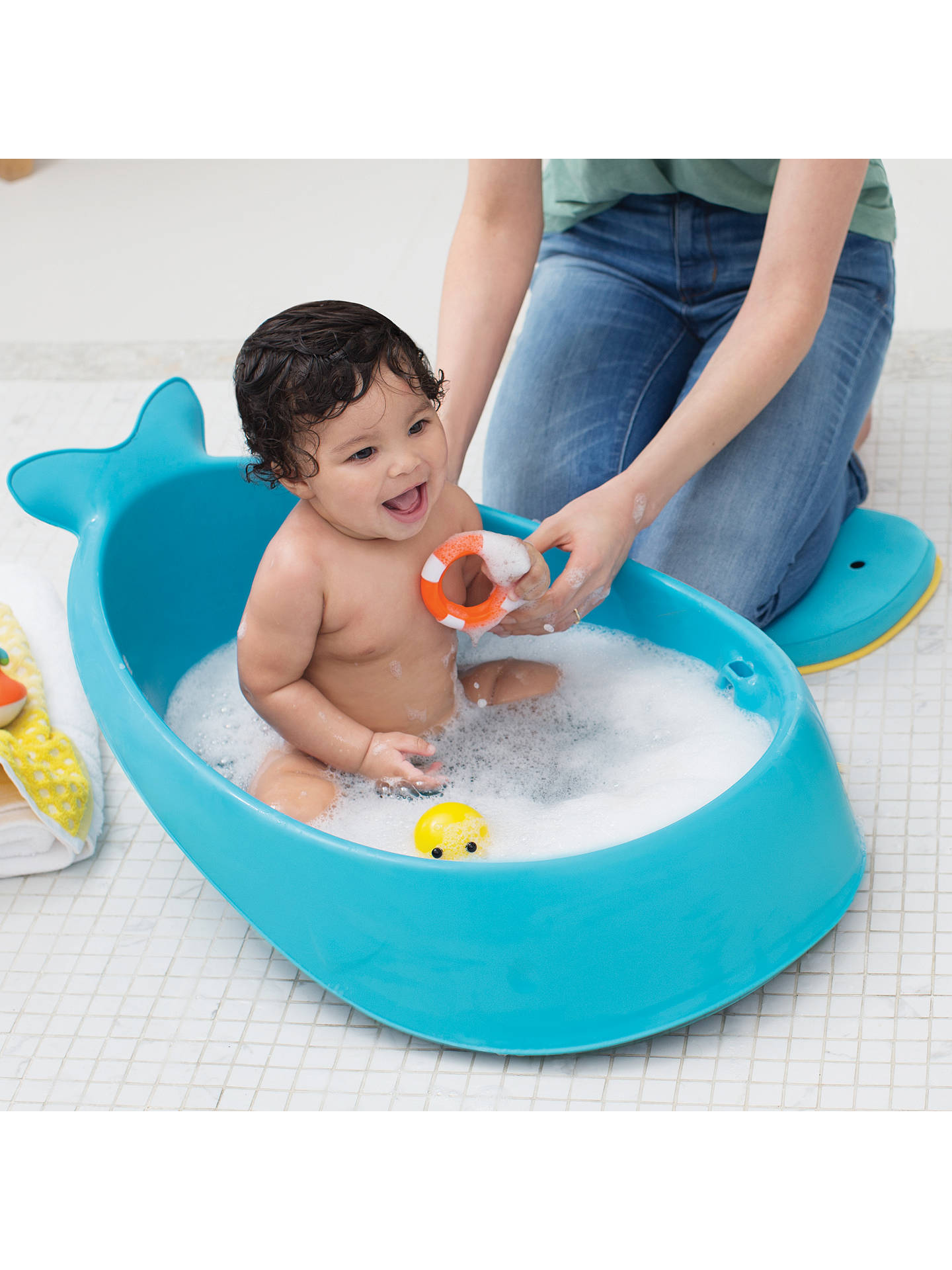 Skip Hop Moby 3 Stage Baby Bath Tub, Blue at John Lewis & Partners