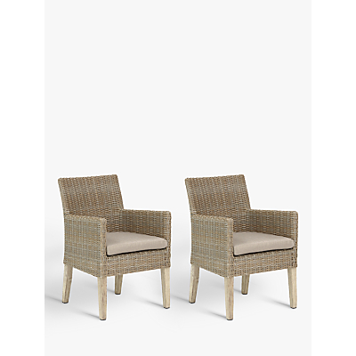 KETTLER Cora Outdoor Dining Armchair, FSC-Certified (Acacia), Set of 2, Whitewash