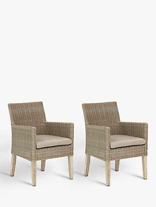 KETTLER Cora Garden Dining Armchair, FSC-Certified (Acacia), Set of 2, Whitewash