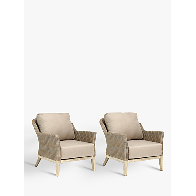 KETTLER Cora Lounging Armchair, FSC-Certified (Acacia), Set of 2, Whitewash