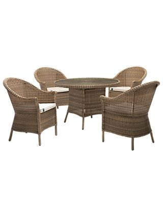 KETTLER RHS Harlow Carr 4 Seater Garden Table and Chairs Set, Natural