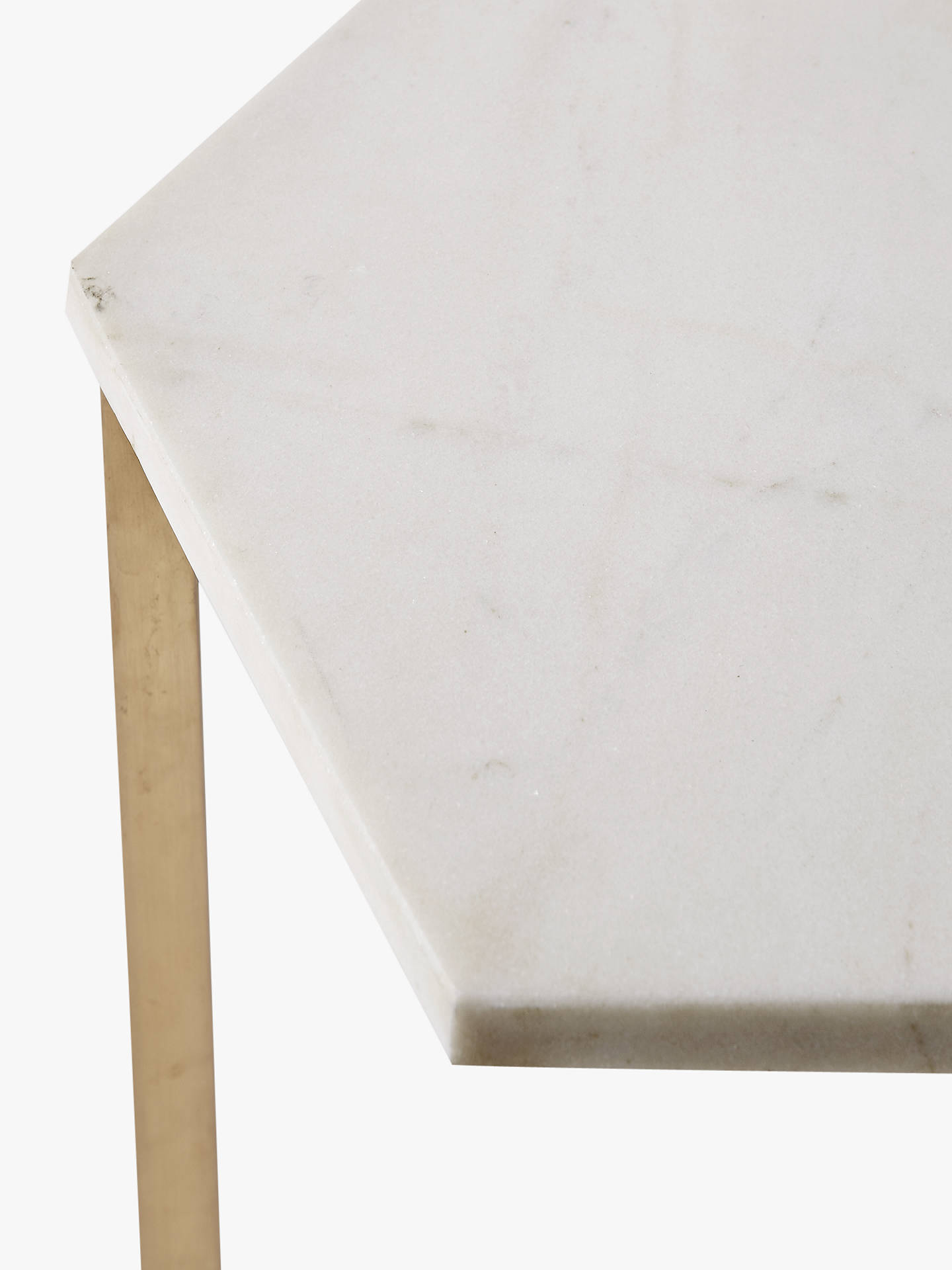 ... Buywest Elm Hex Side Table, White/Antique Brass Online At Johnlewis.com  ...