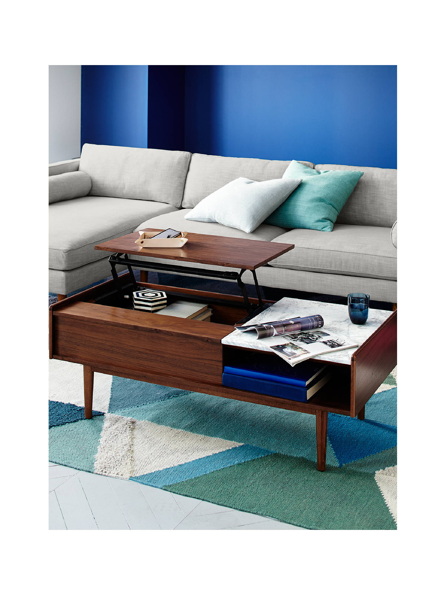 West Elm Mid Century Pop Up Storage Coffee Table Online At Johnlewis
