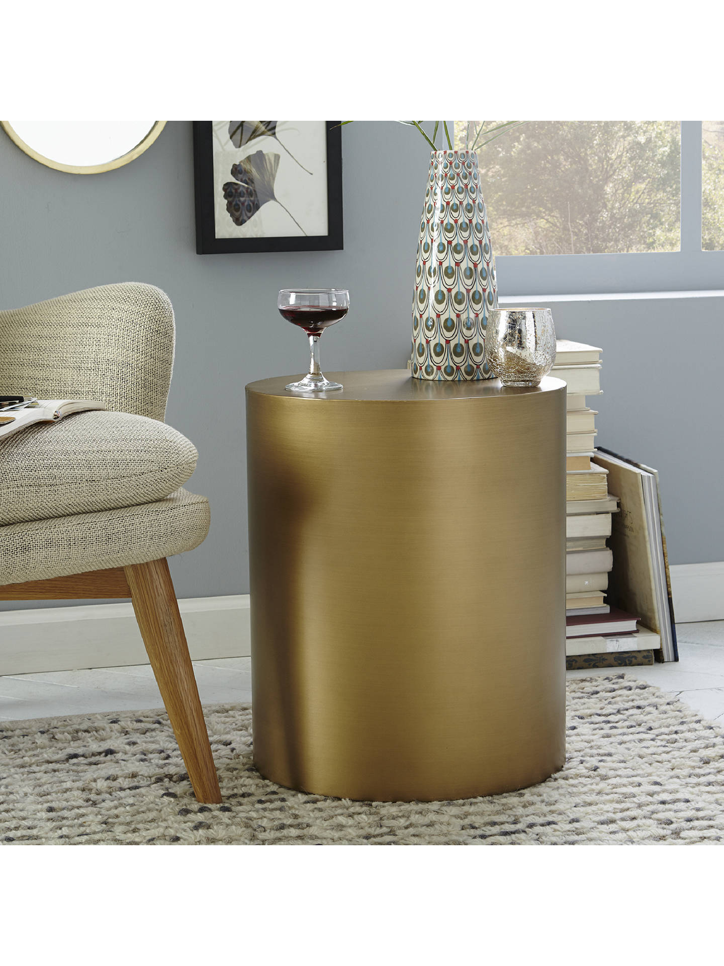 purchase cheap 2eb3b e0e76 west elm Metal Drum Side Table at John Lewis & Partners