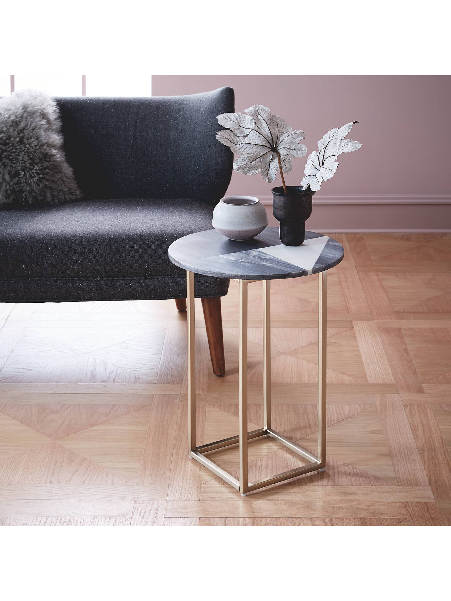 West Elm Marquetry Marble Side Table At John Lewis Amp Partners