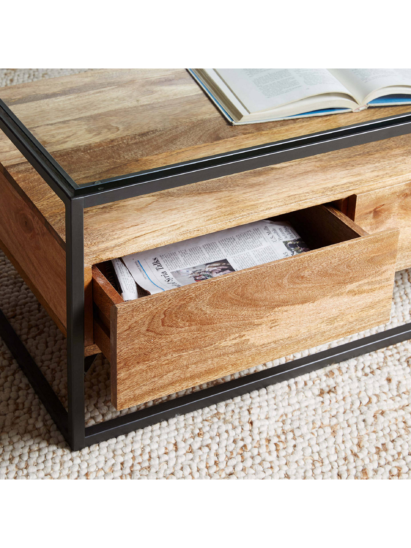 Buy west elm Industrial Storage Box Frame Coffee Table, Raw Mango Online at johnlewis.com