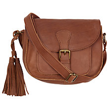 Buy Fat Face Small Leather Saddle Bag, Brown Online at johnlewis.com