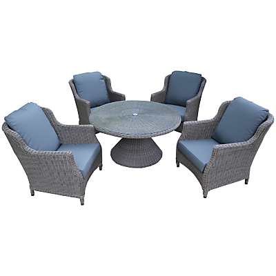 4 Seasons Outdoor Valentine 'Cosy Living' Garden Table & Chairs Set, High Back Design