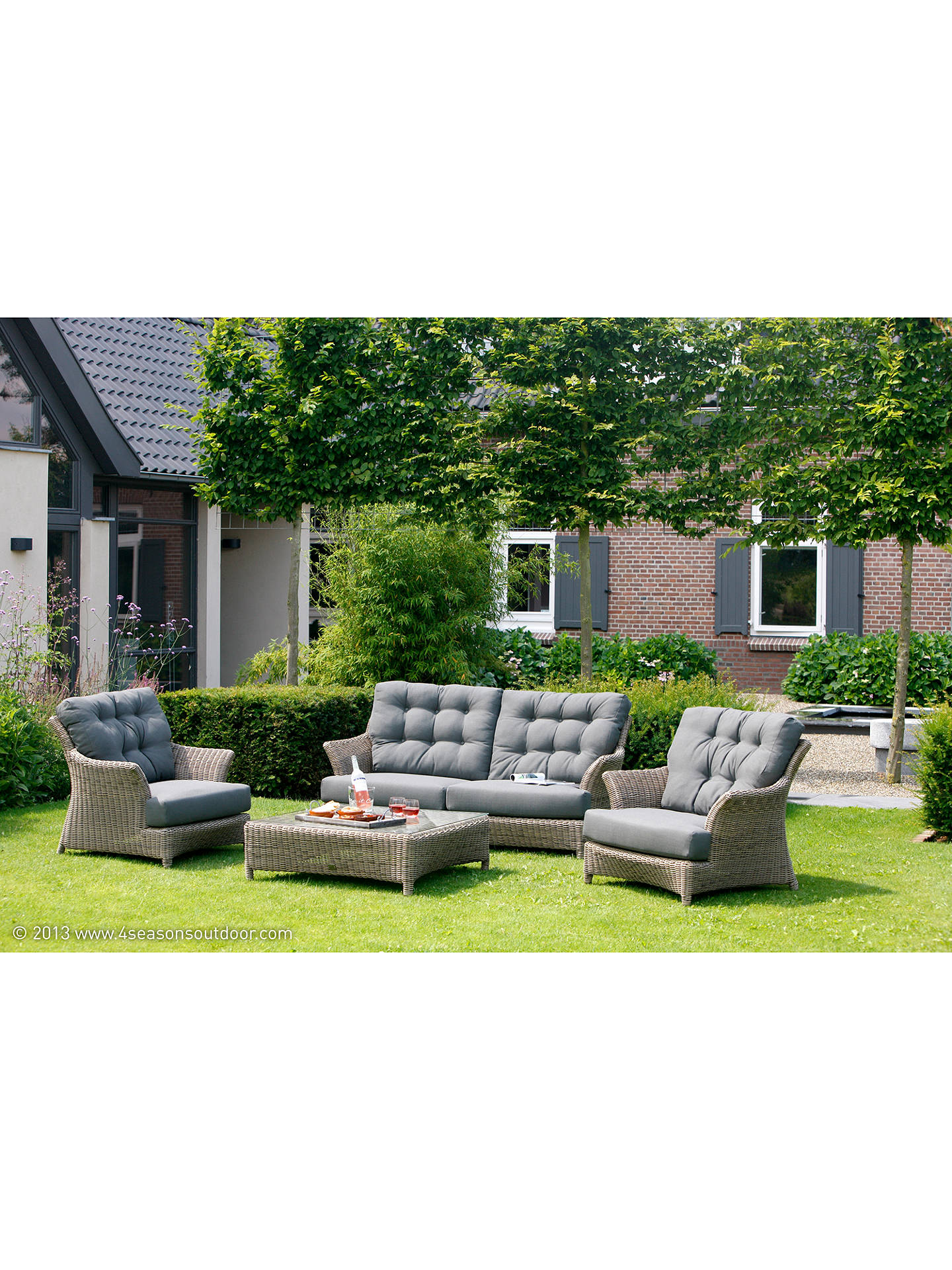 Buy4 Seasons Outdoor Valentine Low Back 4 Seater Garden Lounge Set, Pure Online at johnlewis.com