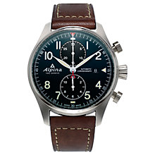 Buy Alpina AL-725N4S6 Men's Startimer Pilot Automatic Chronograph Date Leather Strap Watch, Brown/Dark Blue Online at johnlewis.com