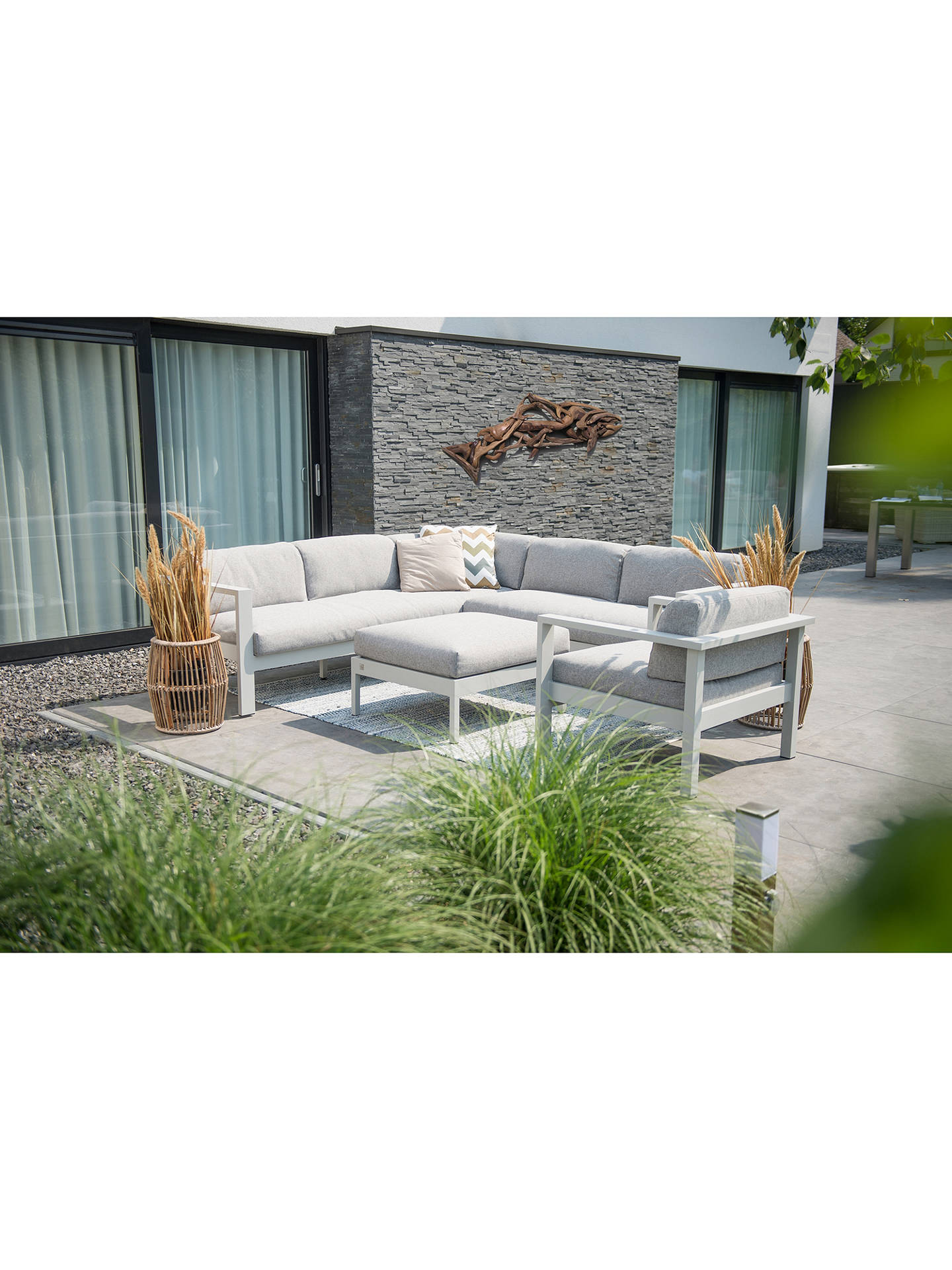 Buy4 Seasons Galaxy 6 Seater Garden Corner Sofa With Footstool / Table, Seashell Online at johnlewis.com