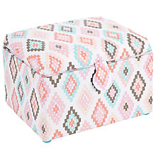 Buy John Lewis Cornered Medium Sewing Basket, Pink/White Online at johnlewis.com