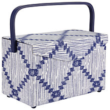 Buy John Lewis Yoshio Rectangle Sewing Basket, Blue Online at johnlewis.com