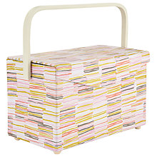 Buy John Lewis Offline Rectangle Sewing Basket, White/Multi Online at johnlewis.com