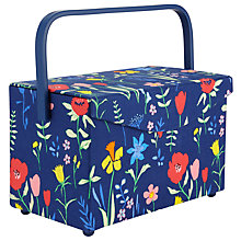 Buy John Lewis Plockade Rectangle Sewing Basket, Blue Online at johnlewis.com