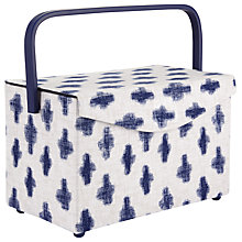 Buy John Lewis Yukie Rectangle Sewing Basket, White/Blue Online at johnlewis.com