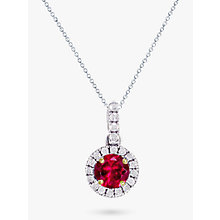 Buy EWA 18ct White Gold Ruby and Diamond Pendant Necklace Online at johnlewis.com