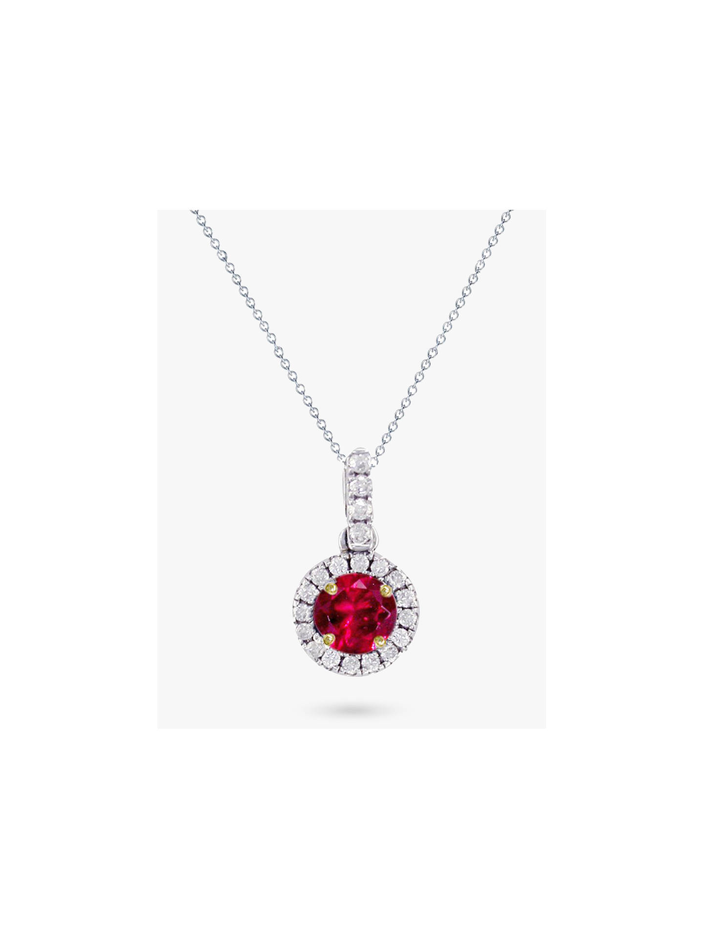 Buy E.W Adams 18ct White Gold Ruby and Diamond Pendant Necklace Online at johnlewis.com