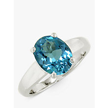 Buy EWA 9ct White Gold Topaz Ring, Blue Online at johnlewis.com