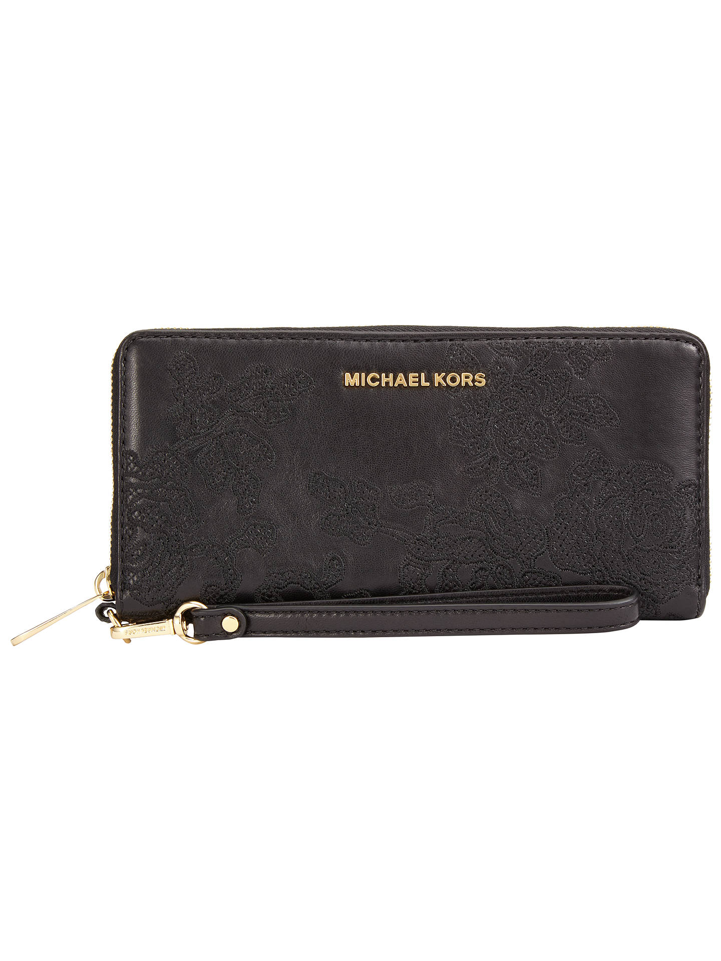 5788e7187f7d50 Buy MICHAEL Michael Kors Jet Set Travel Leather Continental Lace Purse,  Black Online at johnlewis ...
