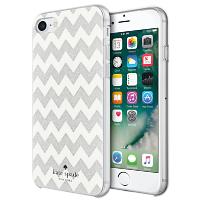 Image of kate spade new york Chevron Pattern Hard Case for iPhone 7, Clear/Silver Glitter