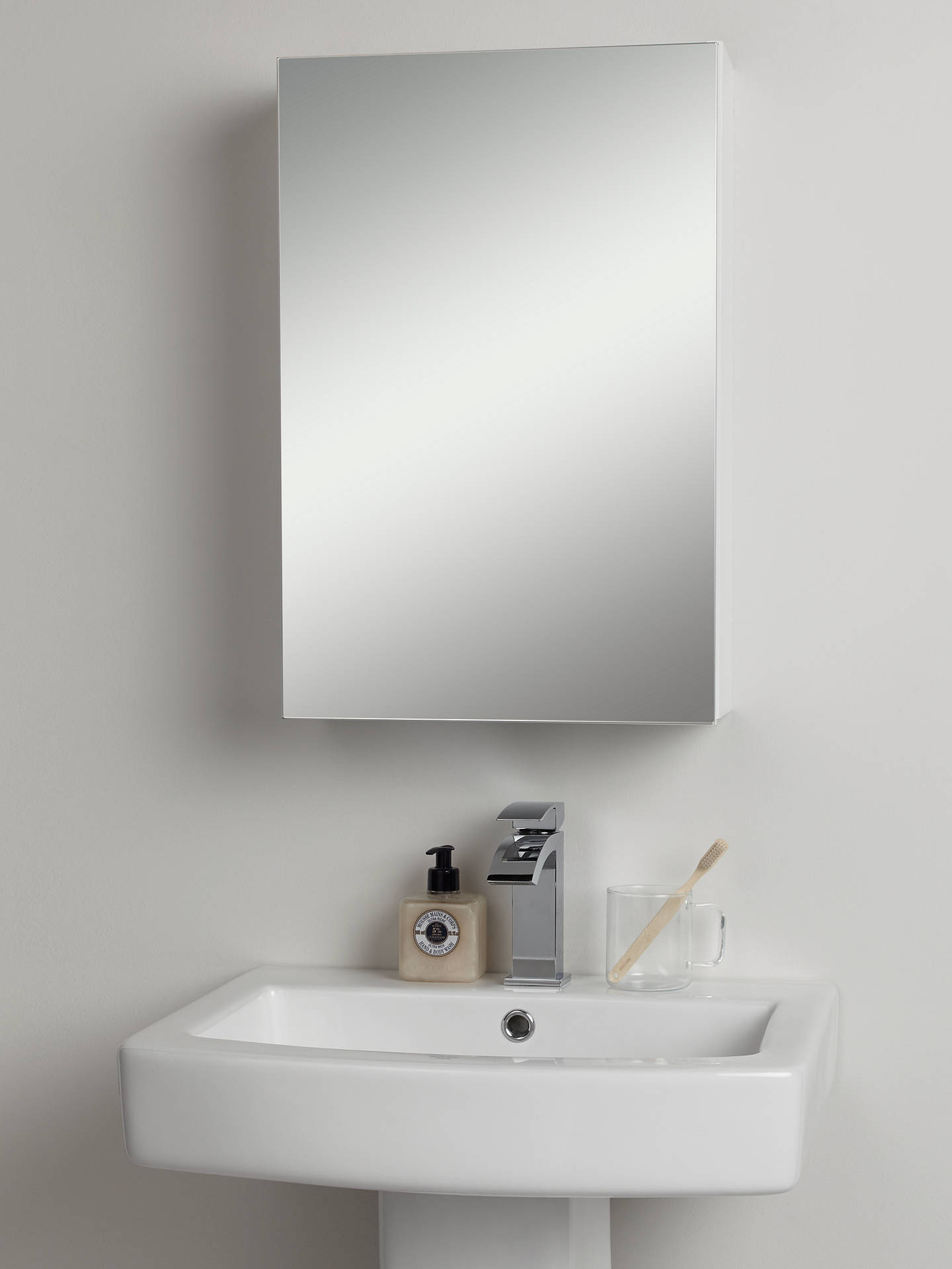 John Lewis Partners Single Mirrored Bathroom Cabinet White At John Lewis Partners