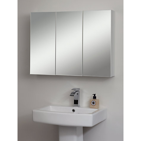 buy john lewis triple white gloss bathroom cabinet online at johnlewiscom