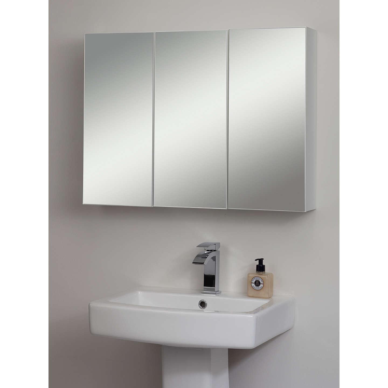 John lewis triple white gloss bathroom cabinet at john lewis for Bathroom cabinets john lewis