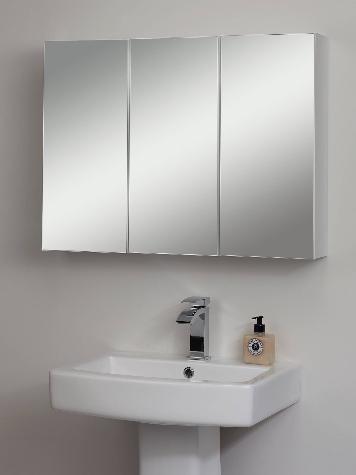 Triple Mirrored Bathroom Cabinet White