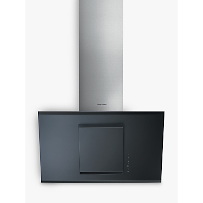 Fisher & Paykel HT90GBH2 Angled Chimney Cooker Hood, Stainless Steel / Black Glass