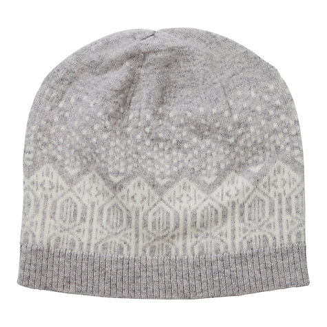 Buy Pure Collection Hannah Cashmere Fair Isle Hat, Heather Dove/Soft White Online at johnlewis.com