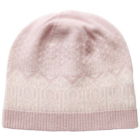 Buy Pure Collection Josie Cashmere Fair Isle Hat, Oyster/Soft ...