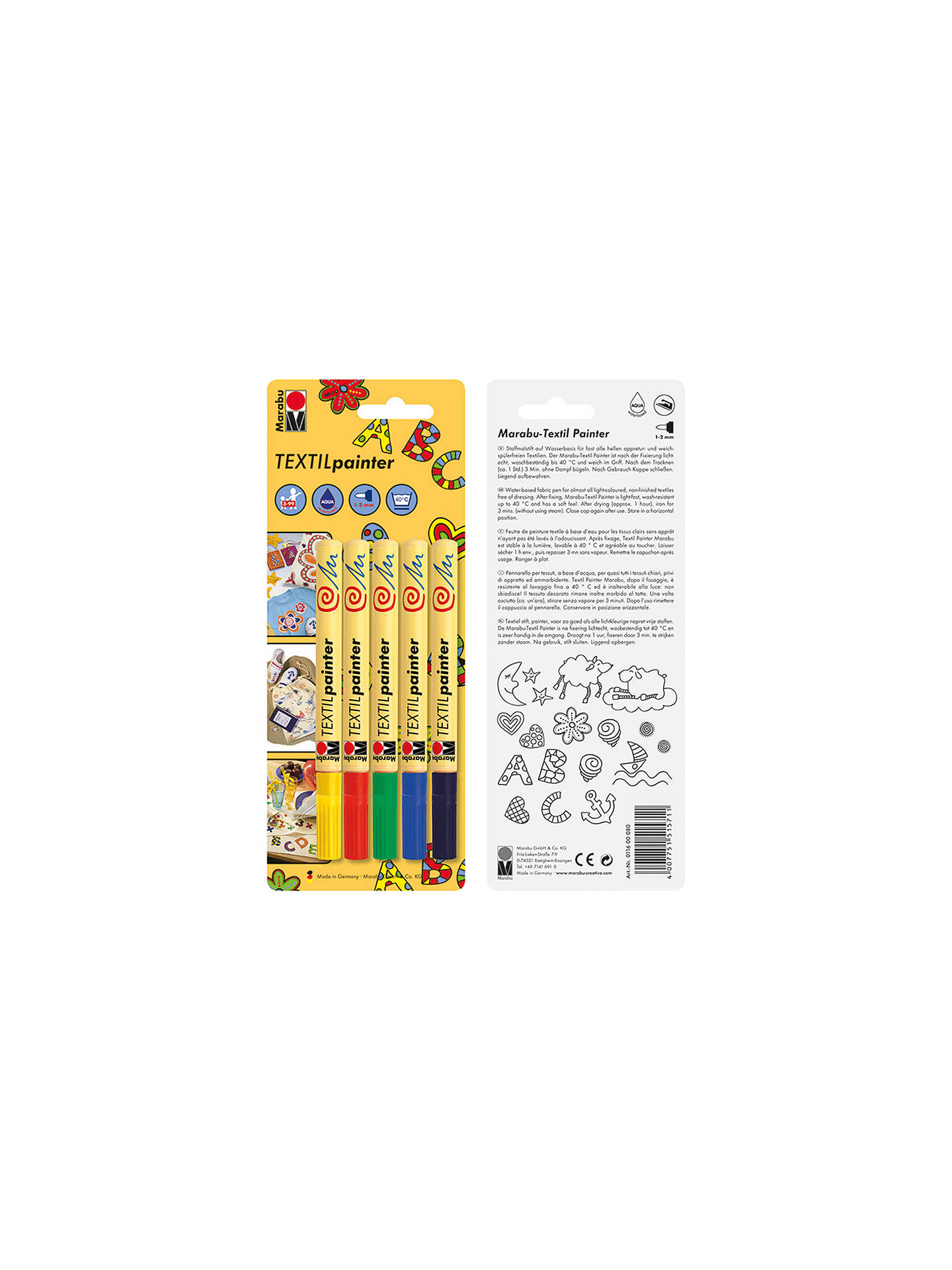 BuyMarabu Textil Painter Pens, Pack of 5, Multi Online at johnlewis.com