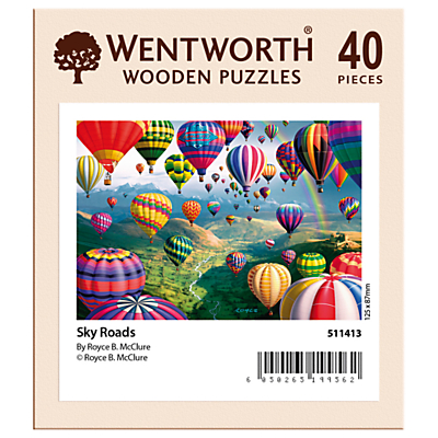 Image of Wentworth Wooden Puzzles Sky Road Balloon Jigsaw Puzzle, 40 pieces