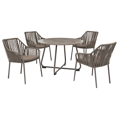 KETTLER Manhattan 4 Seater Table & Twist Chairs Set, Taupe