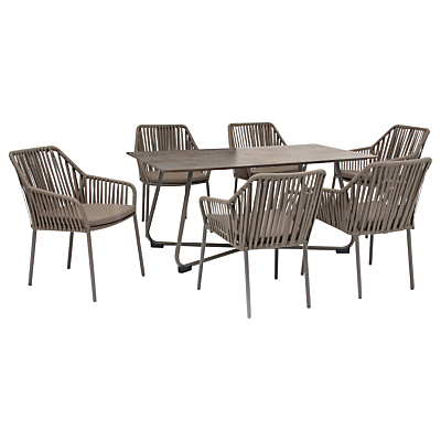 KETTLER Manhattan 6 Seater 'Twist' Table & Chairs Set, Taupe