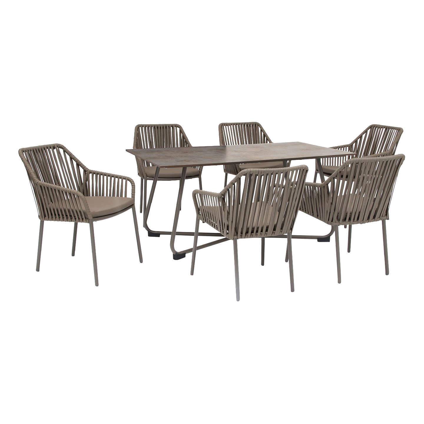 kettler manhattan 6 seater twist garden table and chairs set taupe