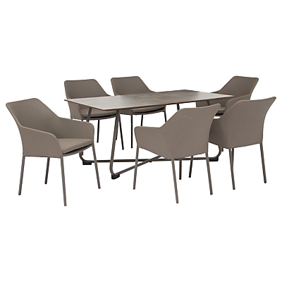 KETTLER Manhattan 6 Seater Table and Wrap Chairs Set, Taupe