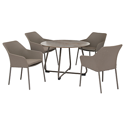 KETTLER Manhattan 4 Seater 'Wrap' Table & Chairs Set, Taupe