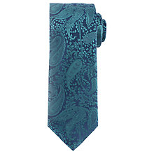 Buy John Lewis Tonal Paisley Silk Tie, Green Online at johnlewis.com