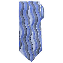Buy John Lewis Wavy Vertical Stripe Woven Silk Tie, Blue Online at johnlewis.com