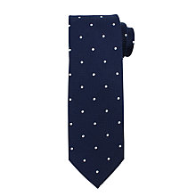 Buy John Lewis Textured Base Dot Silk Tie, Navy/White Online at johnlewis.com