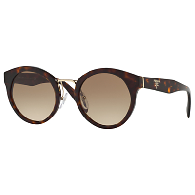 Prada PR 05TS Oval Sunglasses, Tortoise/Brown Gradient