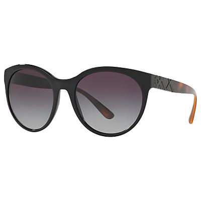 Burberry BE4236 Oval Sunglasses, Black/Grey Gradient