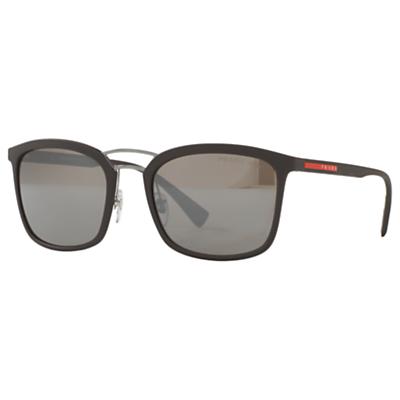 Prada PS 03SS Polarised Square Sunglasses, Matte Brown/Grey