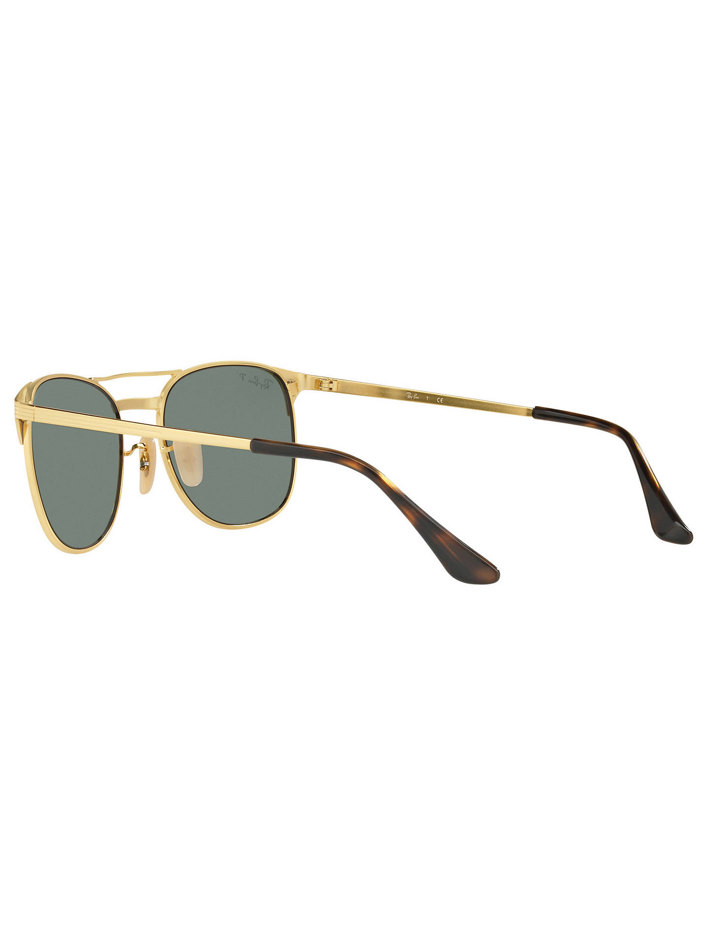 Buy Ray-Ban RB3429M Signet Polarised Square Sunglasses, Gold/Green Online at johnlewis.com