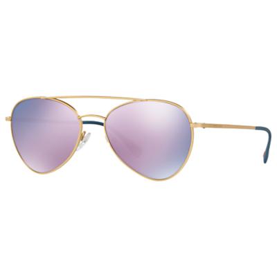 Prada PS 50SS Oval Sunglasses, Gold/Mirror Lilac