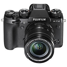 "Buy Fujifilm X-T2 Compact System Camera with XF 18-55mm IS Lens, 4K Ultra HD, 24.3MP, Wi-Fi, OLED EVF, 3"" Tiltable LCD Screen Online at johnlewis.com"